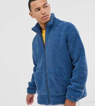 Asos Design DESIGN Tall teddy zip through jacket in blue