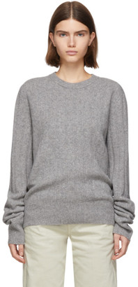 Helmut Lang Grey Wool and Cashmere Felted Sweater