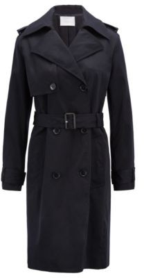 HUGO BOSS Double-breasted trench coat with oversized lapels