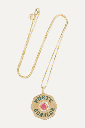 Marlo Laz Coin 14-karat Gold, Enamel, Tourmaline And Diamond Necklace