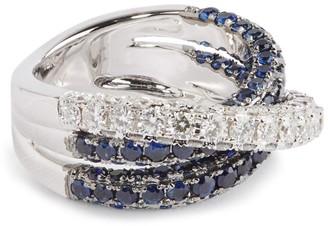 Shay White Gold, Diamond and Sapphire Deco Orbit Ring