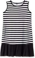 Tiana B Women's Petite Plus Sleeveless Striped Trapeze Dress with Solid Knit Bottom Band