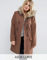 Asos Wool Blend Faux Fur Hooded Duffle Coat