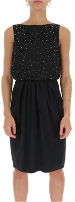 Max Mara Sleeveless Crystal Studded Dress