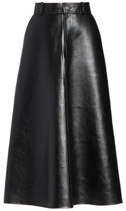 Balenciaga Leather A-Line Midi Skirt