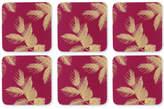 Pimpernel Etched Leaves Set of 6 Pink Coasters