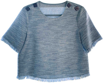 Chanel Blue Tweed Tops