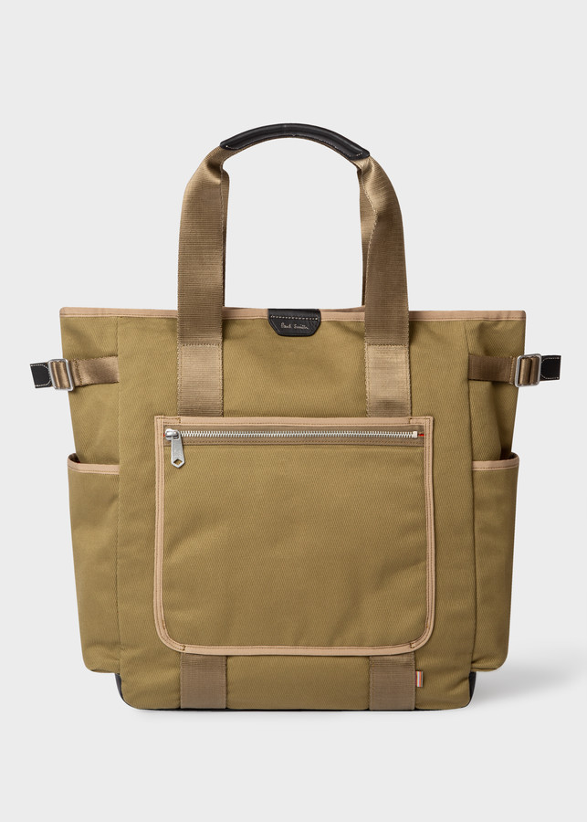 Paul Smith Men's Khaki Canvas Tote Bag