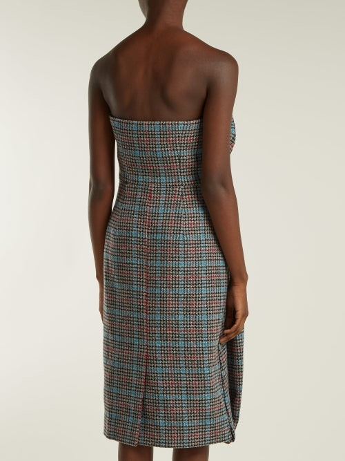 Thumbnail for your product : Prada Strapless Houndstooth Wool-blend Dress - Grey Multi