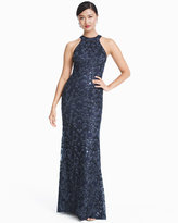 White House Black Market Halter Beaded Sequin Gown