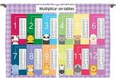 Ambesonne Girls Boys Kids Room Decor Collection, Fun Learn to Count Multiplication Table Panda Bee Elephant Lion Cat Image, Window Treatments for Kids Bedroom Curtain 2 Panels Set, 108X84 Inches