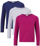 John Lewis Girls' Plain T-Shirt, Pack of 3, Medieval Blue
