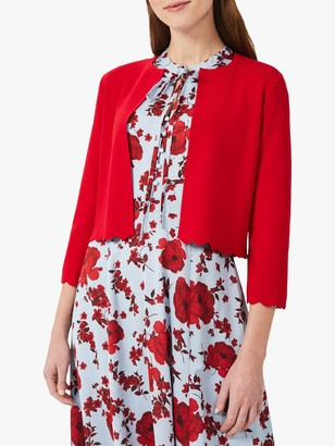 Hobbs Drew Cropped Cardigan, Poppy Red
