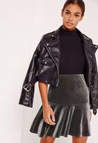 Missguided Frill Hem Velvet Mini Skirt Grey
