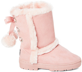 Blush B-Lush Bebe Girls bebe girls Girls' Casual boots BLUSH - Blush Faux Fur Pom-Pom Boot - Girls