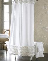 White Ruffled Shower Curtain