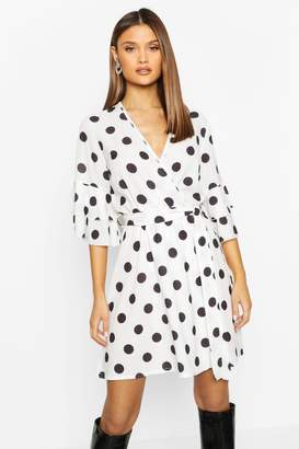 boohoo Polka Dot Ruffle Sleeve Wrap Skater Dress