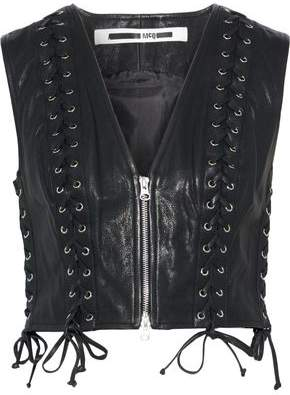 McQ Cropped Lace-up Leather Vest