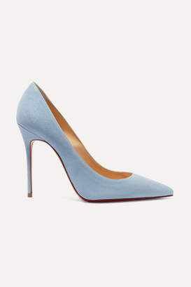 Christian Louboutin Décolleté 554 100 Suede Pumps - Sky blue
