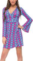 Macbeth Fuchsia & Turquoise Geometric Wrap Dress