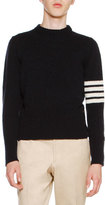Thom Browne Wool Tweed Crewneck Sweater with 4-Bar Stripes, Navy