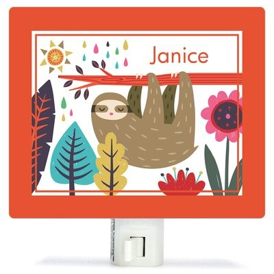 Oopsy Daisy Fine Art For Kids Sleepy Sloth by Irene Chan Personalized Canvas Night Light