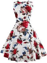 Soficy Vintage 1950's Floral Spring Garden Picnic Party Cocktail Swing Dress S