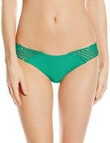 Luli Fama Women's Let's Be Mermaids Crochet Loops Cutout Moderate Bikini Bottom