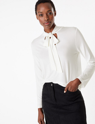 Marks and Spencer Fitted Tie Neck Long Sleeve Top