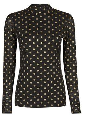 Dorothy Perkins Womens Black Foil Spot Mesh Long Sleeve Top, Black