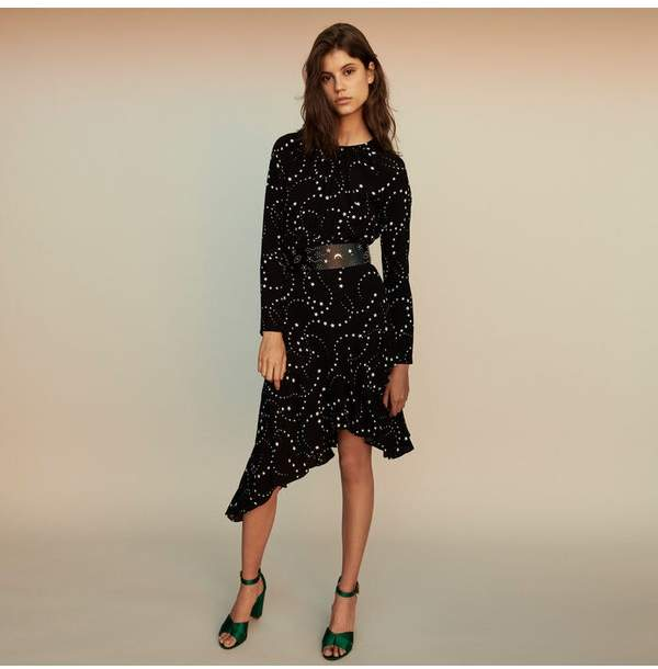 Maje Asymmetrical Printed-Crepe Dress