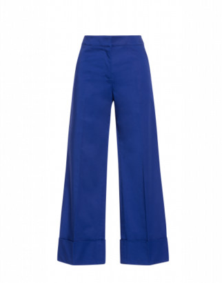 Boutique Moschino Stretch Satin Trousers Woman Blue Size 38 It - (4 Us)
