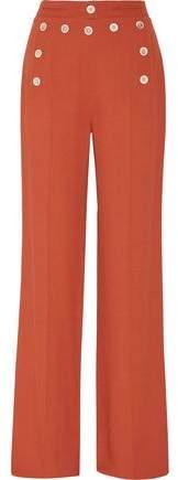 Derek Lam Button-Embellished Crepe Wide-Leg Pants