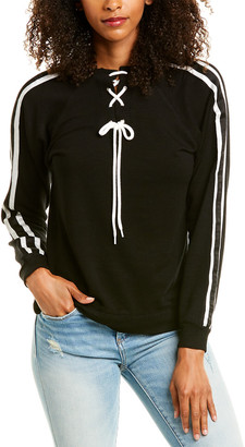 Monrow Stripe Elastic Lace-Up Sweatshirt