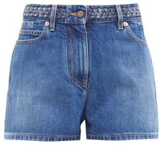 Valentino Logo-embroidered Braided High-rise Denim Shorts - Denim
