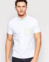 Diesel Polo T-Bleach Slim Fit Pique Bleach Denim Collar and Pocket in White