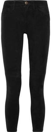 Current/Elliott The Stiletto Mid-Rise Suede Skinny Jeans