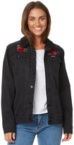 Santa Cruz Roses Womens Sherpa Denim Jacket Black
