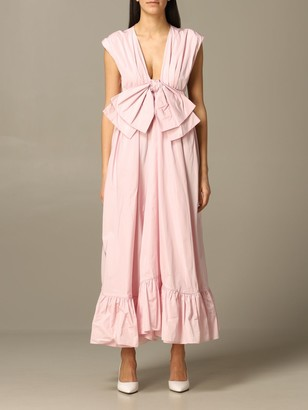 MSGM Long Dress With Maxi Bow