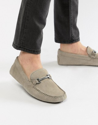 Asos Design DESIGN driving shoes in grey suede with snaffle