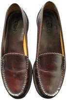 Chloé Burgundy Leather Flats