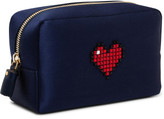 Anya Hindmarch MAKE UP POUCH HEART IN INK SATIN W CIRCUS TRIM