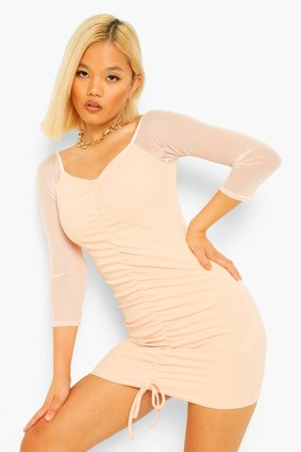 boohoo Petite Mesh Ruched Front Bodycon Dress