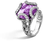 John Hardy Batu Classic Chain Silver Braided Ring with Amethyst, Size 7