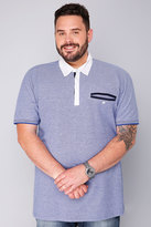 Yours Clothing BadRhino Blue & White Marl Short Sleeve Polo Shirt With White Trims