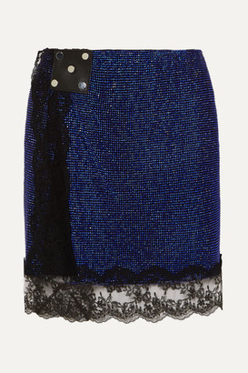Christopher Kane Lace-trimmed Crystal-embellished Chainmail Mini Skirt - Blue