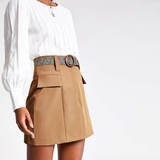 River Island Womens Beige belted mini skirt