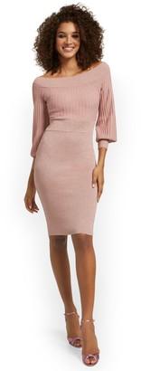 New York & Co. Off-The-Shoulder Metallic Sweater Sheath Dress