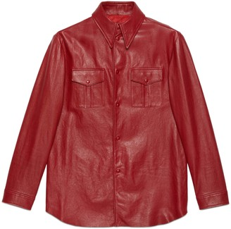 Gucci Leather shirt with point collar