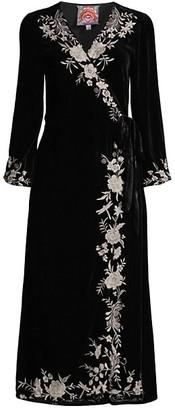 Johnny Was Erith Velvet Kimono Wrap Dress